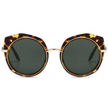 Anti UV Metal Frame Eyebrow Round Sunglasses - DARK GREEN CAMOUFLAGE