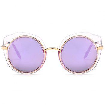 Anti UV Metal Frame Eyebrow Round Sunglasses - PURPLE