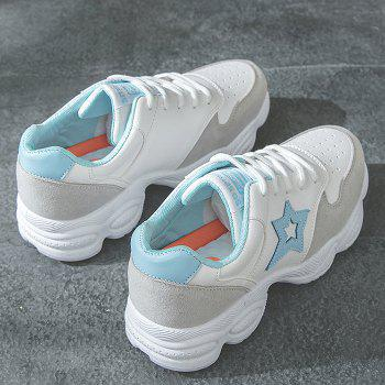 Round Toe Star Patched Sports Shoes - BLUE 40