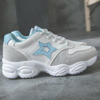Round Toe Star Patched Sports Shoes - BLUE 37