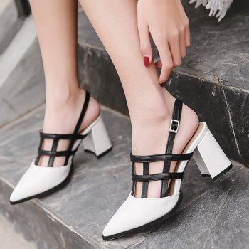 Hollow Out Chunky Heel Slingback Pumps - WHITE 38