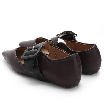 Buckled PU Leather Flats - CAMEL 36