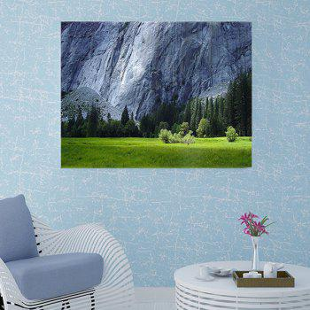 Trees Meadow Cliff Print Wall Sticker for Bedroom - GREEN W20 INCH * L27.5 INCH