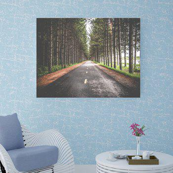 Highway Through the Forest Print Wall Art Sticker - GREEN W20 INCH * L27.5 INCH