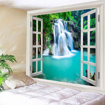 Window Outside Forest Waterfall Print Wall Art Tapestry - BLUE W79 INCH * L71 INCH