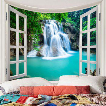 Window Outside Forest Waterfall Print Wall Art Tapestry - BLUE W91 INCH * L71 INCH