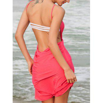 Sexy Spaghetti Strap Backless Solid Color Women's Cover Up - WATERMELON RED ONE SIZE