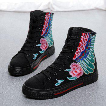 Round Toe Embroidered Ankle Boots - BLACK 37