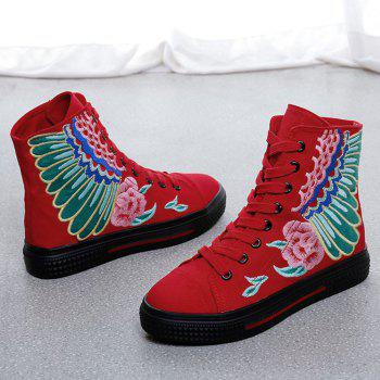 Round Toe Embroidered Ankle Boots - RED 36