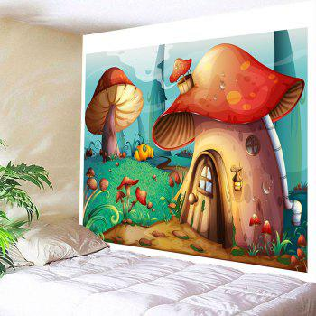 Cartoon Mushroom House Printed Wall Tapestry - COLORFUL W79 INCH * L71 INCH