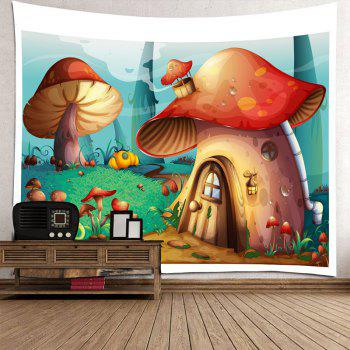 Cartoon Mushroom House Printed Wall Tapestry - COLORFUL W91 INCH * L71 INCH