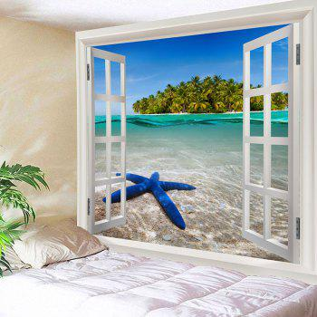 Window Outside Starfish Sea Island Printed Decorative Tapestry - COLORFUL W91 INCH * L71 INCH