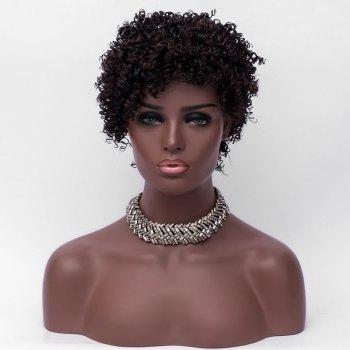 Short Colormix Side Bang Fluffy Curly Synthetic Wig - COLORMIX
