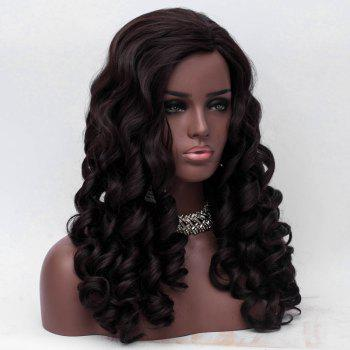 Long Inclined Bang Body Wave Synthetic Fiber Wig - DEEP BROWN