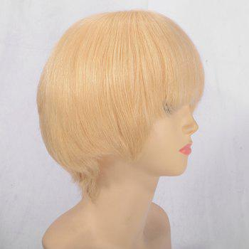 Short Neat Bang Straight Indian Remy Huaman Hair Lace Front Wig - BLONDE