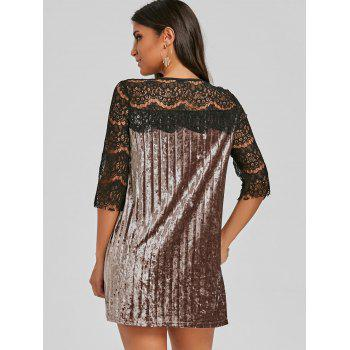 Lace Panel Velvet Pleated Dress - CAPPUCCINO S