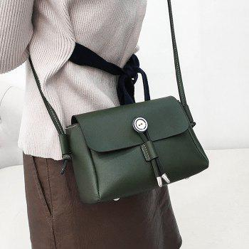 PU Leather Preppy Crossbody Bag - GREEN