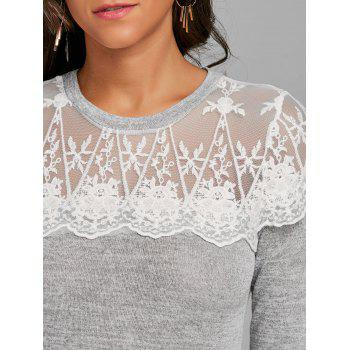 Long Sleeve Lace Panel T-shirt - LIGHT GRAY XL