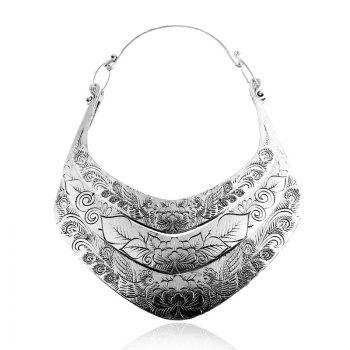 Layered Flower Peacock Printed Necklace - SILVER