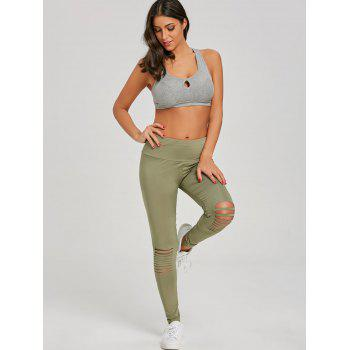 Skinny Distressed Sports Leggings - GREEN L