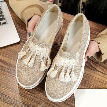 Slip On Tassels Platform Shoes - APRICOT 35