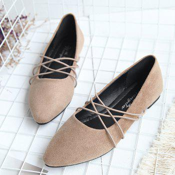 Faux Suede Pointed Toe Flats - KHAKI 40