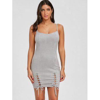 Spaghetti Strap Faux Suede Lace Up Dress - GRAY L
