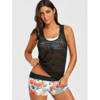 Floral Bikini with Openwork Sheer Tank Top - COLORMIX L