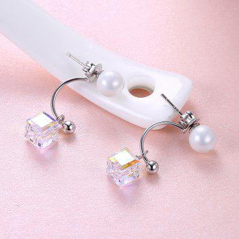 Artificial Pearl Crystal Cube Sterling Silver Dangle Earrings - SILVER