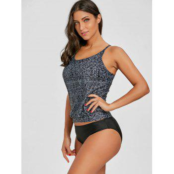 Geometric Printed Cross Back Tankini - GRAY M