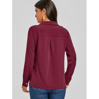 Crossover Front V Neck Asymmetric Blouse - WINE RED L