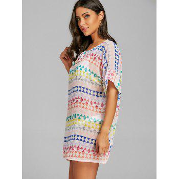 Chiffon Sheer Geometric Print Cover Up Dress - FLORAL ONE SIZE