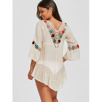 Flounce Crochet Insert Tunique Cover Up - [/quot;\ u \ u e \ u a \ u d \ u e/quot;] ONE SIZE