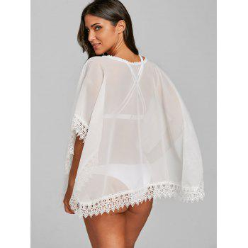 See Through Batwing Loose Fit Cover Up - WHITE ONE SIZE