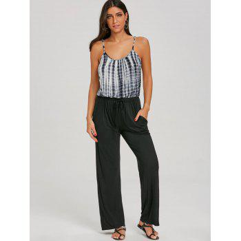 Tie Dyed Printed Spaghetti Strap Jumpsuit - BLACK XL