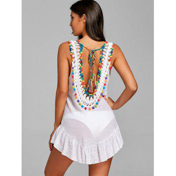 Flounce Low Back Pompom Trim Cover Up - WHITE ONE SIZE