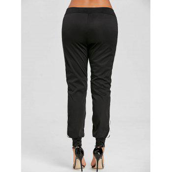 Lace Up Contrast Jogging Pants - BLACK M
