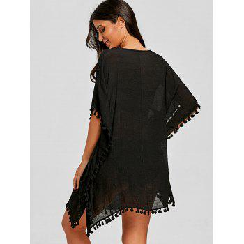 Tassel Trim Crochet Knit Cover Up - BLACK ONE SIZE
