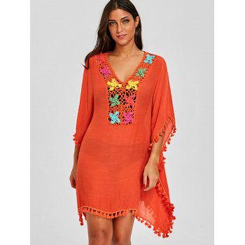 Gland Tassel Trim Crochet Knit Cover Up - Tangerine ONE SIZE