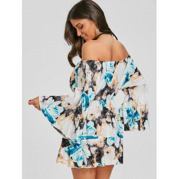 Print Off The Shoulder Swing Dress - BLUE M