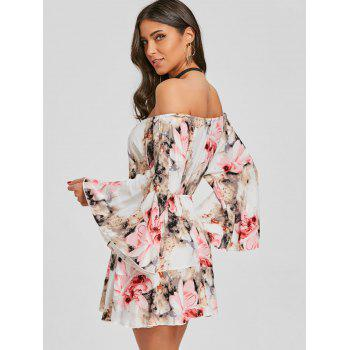 Print Off The Shoulder Swing Dress - RED M