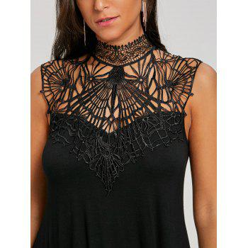 Cutwork Open Back Crescent Hem Tank Top - BLACK M