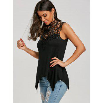 Cutwork Open Back Crescent Hem Tank Top - BLACK XL