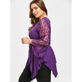 Lace Sleeve Plus Size Asymmetrical Handkerchief T-shirt - PURPLE XL