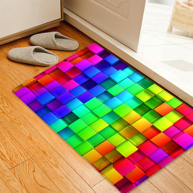 Colorful Block Print Indoor Outdoor Area Rug - COLORMIX W20 INCH * L31.5 INCH