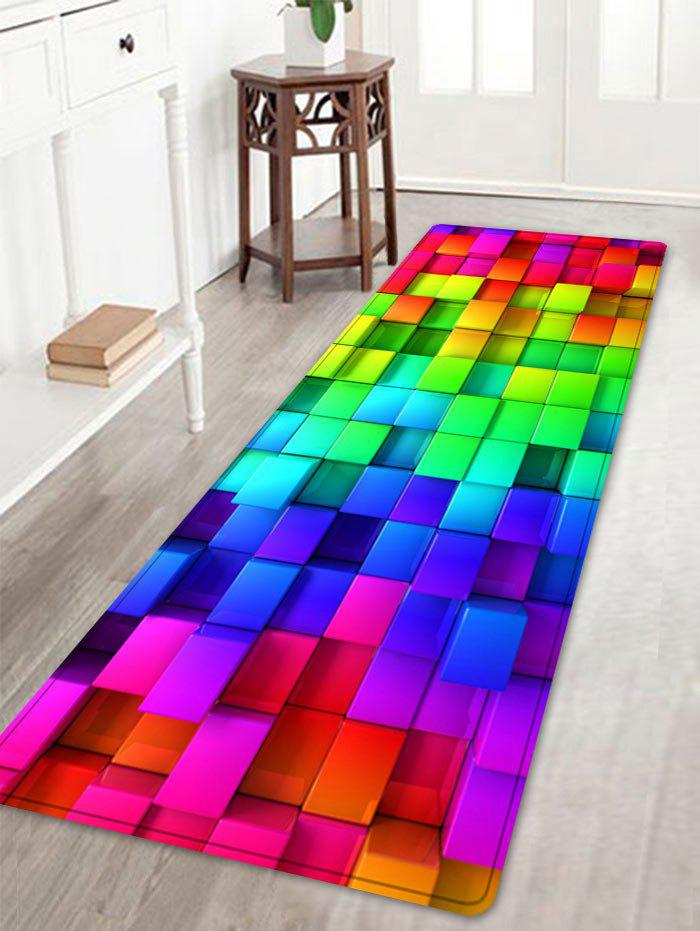 Colorful Block Print Indoor Outdoor Area Rug - COLORMIX W16 INCH * L47 INCH