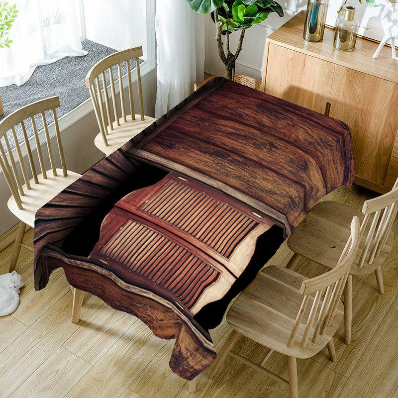 Wood Grain Board Pattern Table Cloth - BROWN W60 INCH * L84 INCH