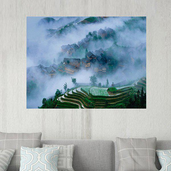 Terraced Fields Village Pattern Wall Art Sticker - GREEN W20 INCH * L27.5 INCH
