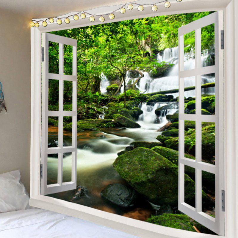 Window Outside Forest Stream Gurgling Water Printed Tapestry - GREEN W79 INCH * L71 INCH