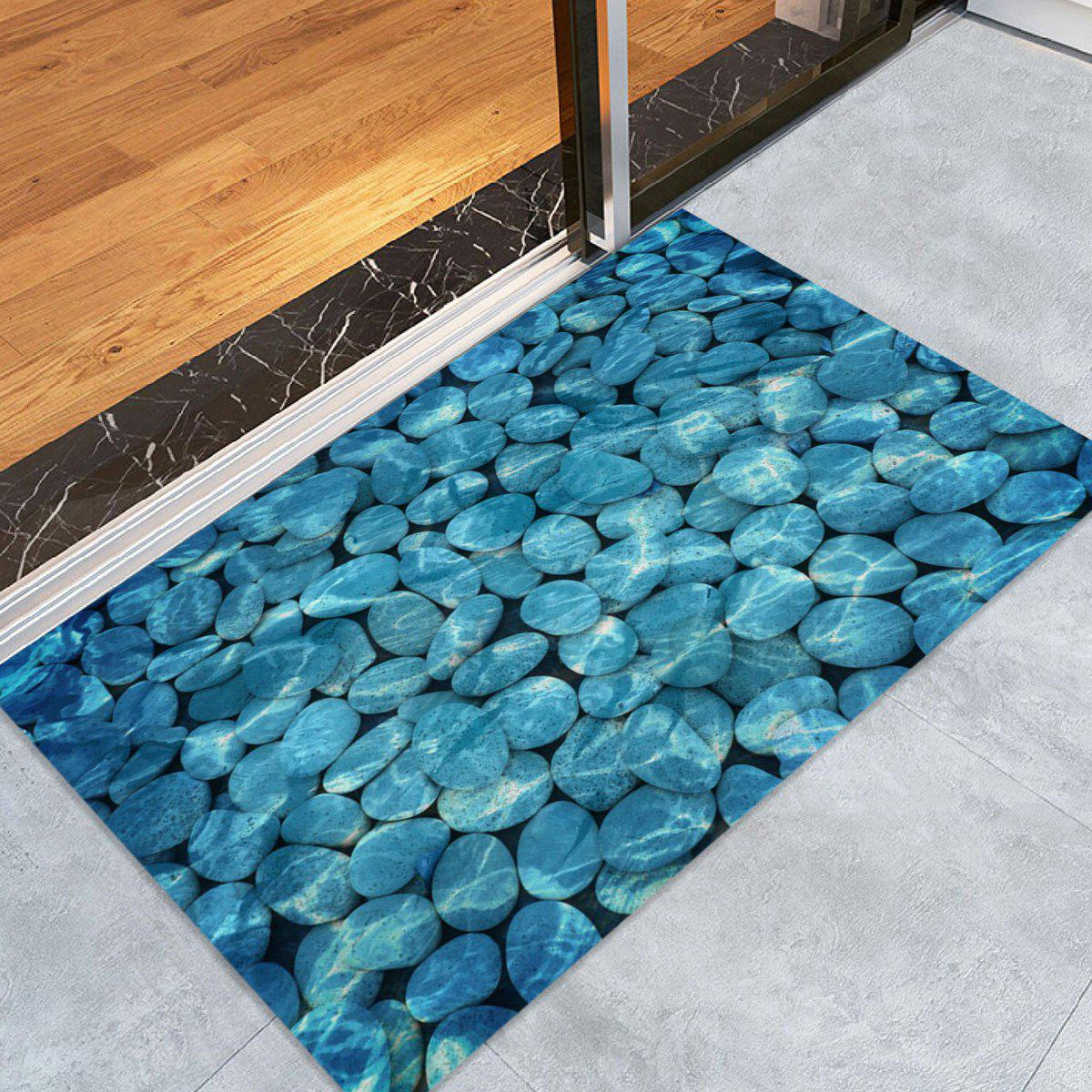 Pebbles In Water Pattern Indoor Outdoor Area Rug - LAKE BLUE W24 INCH * L35.5 INCH